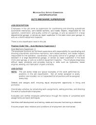 Maintenance Supervisor Resume Sample by Entry Level Auto Mechanic Supervisor Resume Template Vinodomia