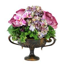 faux flowers mixed faux floral 16 in centerpiece in metal footed urn