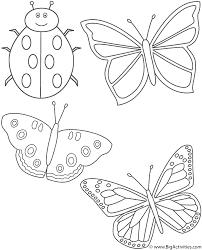 three butterflies and ladybug coloring page insects