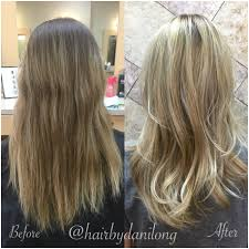 rooty blonde hair painting balayage before and after dani