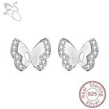 butterfly ear studs 925 silver earrings cubic