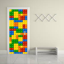 the lego blocks door stickers 3d pvc self adhesive wallpaper