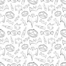 halloween seamless pattern with pumpkin bat ghost candy and c
