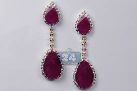 ruby drop earrings womens ruby diamond drop halo earrings 18k gold 17 30 ct