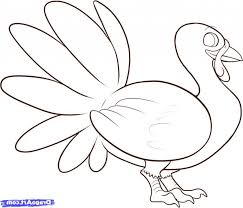 coloring pages cool easy turkey drawings simple drawing how to