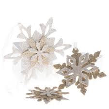 silver and gold glittered snowflake ornament set