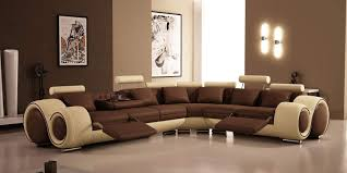 apartment modern living room design with unique brown couch in