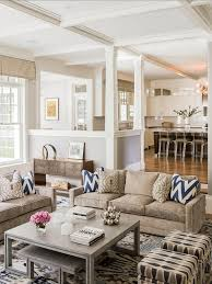 beautiful living room with open concept kitchen fabric