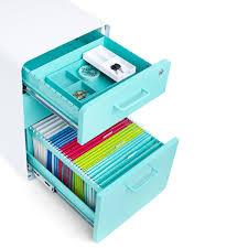 Desks Accessories Poppin Aqua Stow 3 Drawer File Cabinet Modern Desk Accessories