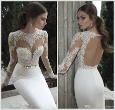 2017 cheap berta bridal mermaid wedding dresses jewel neck long