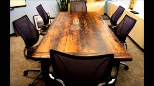 Wooden Boardroom Table Boardroom Tables Made From Reclaimed Wood Youtube