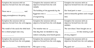 forming adjectives from verbs ks2 spag practice classroom secrets