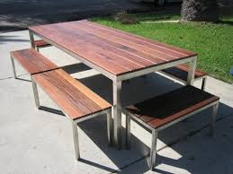 Stainless Steel Outdoor Table With Ipe Wood Top  Benches Table - Ipe outdoor furniture