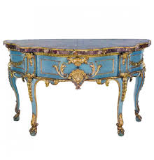 painted u0026 gilded marble top demilune console table john nelson