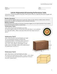 unit 8 polynomials u0026 factoring performance tasks