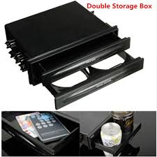 universal car double din radio pocket installation dash storage