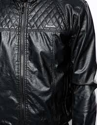 Bench Womens Jackets Bench Jacket Faux Leather Biker In Black For Men Lyst