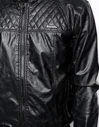 bench jacket faux leather biker in black for men lyst
