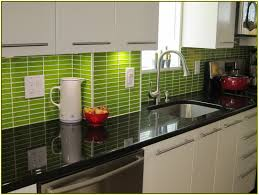 Green Kitchen Backsplash Green Subway Tile Kitchen Backsplash Home Design Ideas