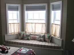 decorations interesting bay window seat with stripes sheets and