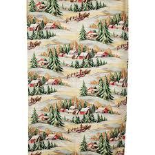 Vintage Drapery Fabric Unused Vintage 1940s Winter Christmas Country Drapery Barkcloth Fabric