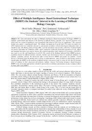 effect of multiple intelligence based instructional technique mibit u2026