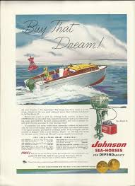 1953 johnson motors color ad the sea horse 25 hp vintage