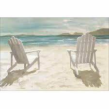 two adirondack chairs on sandy beach coastal painting blue u0026 tan