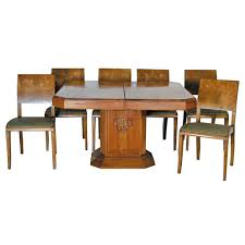 1163 art deco dining set in burl wood circa 1925 from