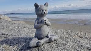Cement Garden Decor Buddha Cat Meditating Cat Yoga Cat Garden Decor Cat Statue