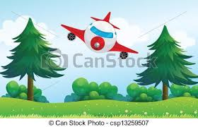 vector clipart airplane hills illustration