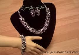 black white crystal necklace images Silver pearls black swarovski crystal necklace bracelet earring jpg