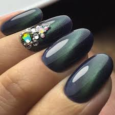 emerald green nails with crystals nail pro