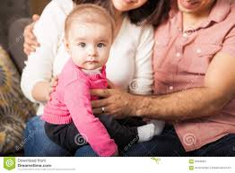cute baby with her parents stock photo image 65945901