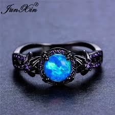 fire opal rings images Women blue fire opal star flower amethyst ring black gold wedding jpg