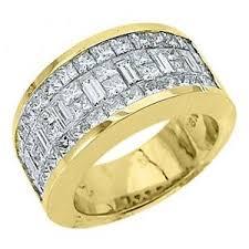 mens yellow gold wedding bands mens 3 17 carat princess baguette cut diamond ring wedding band