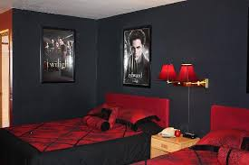 black and red painted bedroom interior design