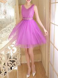 Dresses For Prom Purple Chiffon Lace Sequin Short Dress For Prom Bridesmaid Dress