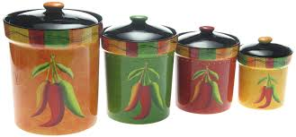 Orange Kitchen Canisters Amazon Com Certified International Caliente 4 Piece Canister Set