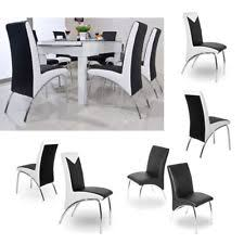 6 Black Dining Chairs 6 Leather Dining Chairs Ebay