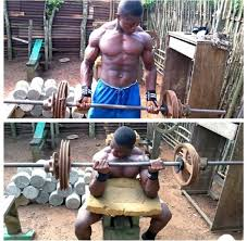 a guy from ghana is getting buff with minimum equipment and no