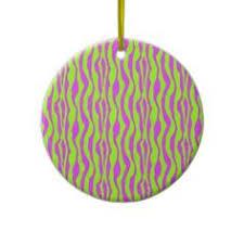 Zebra Christmas Tree Ornament by Green Zebra Stripe Print Round Wallclocks Watches And Wall