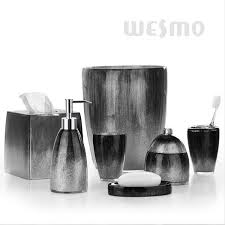 bathroom glamorous black and silver bathroom accessories sets