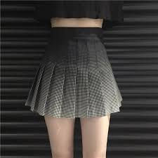 high waisted skirts gradient plaid high waist pleated skirt harajuku fashion