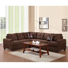chocolate sectional sofa poundex microfiber 2 pc sectional sofa set with reversible loveseat