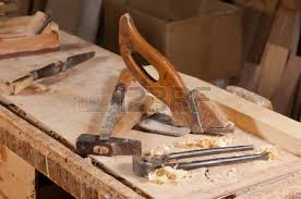 Carpentry Work Bench Vintage Carpentry Tools On A Work Bench Stock Photo Picture And