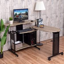 l shaped standing desk goplus expandable computer desk l shaped pc laptop table corner