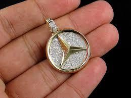 necklace pendants charms images Mens 10k yellow gold mercedes medallion genuine diamond pendant jpg