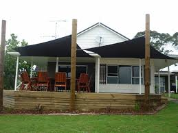 Backyard Shade Canopy by Dual Shade Sails Off Deck Yard Landscape Pinterest Decking