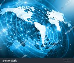 Sattelite World Map by World Map On Technological Background Glowing Stock Illustration